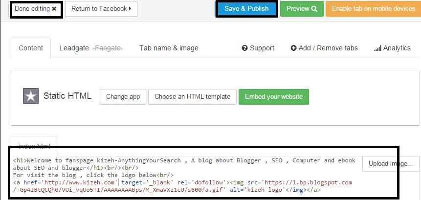 Dashboard pengaturan static HTML pada fanspage