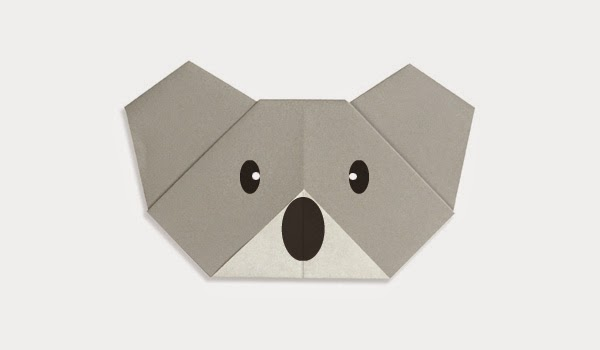 Origami Tutorials - How to make a face of Koala Bear
