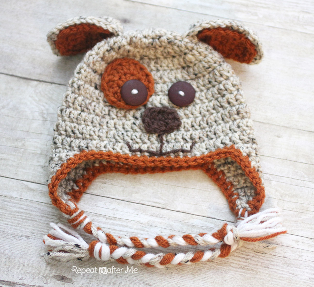 Puppy Dog Hat Knitting Pattern : Crochet Puppy Hat Pattern - Repeat Crafter Me