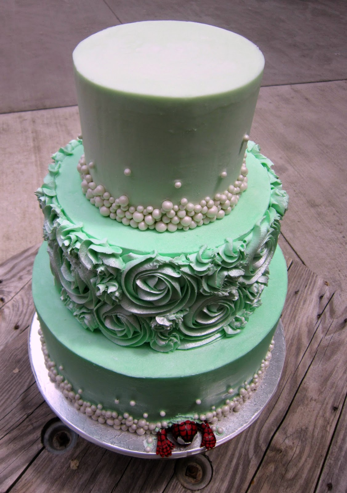 Delectable Cakes Mint Green Rose Swirl Wedding Cake