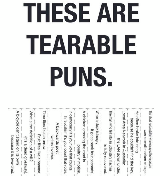 funny tearable puns joke picture