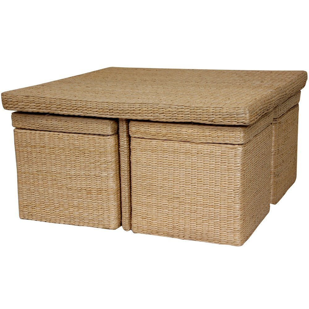 Natural Grass Weave Coffee Table With Hidden Storage Seating Underneath