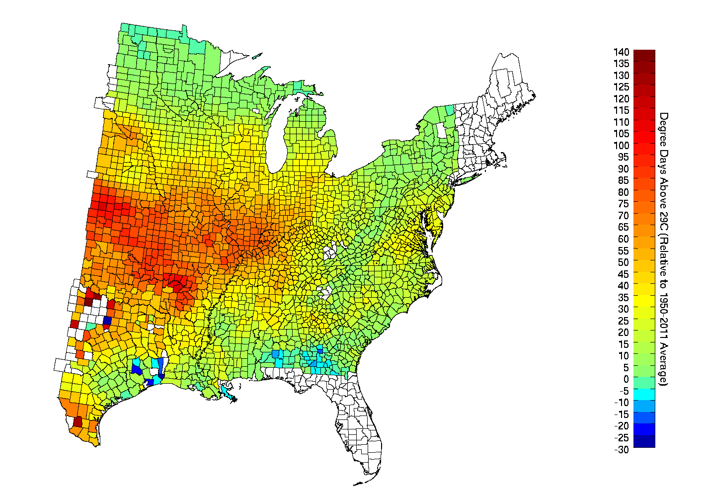 there is even more heterogeneity for rainfall while places along the mississippi river seem dry some northern and southern counties actually had above
