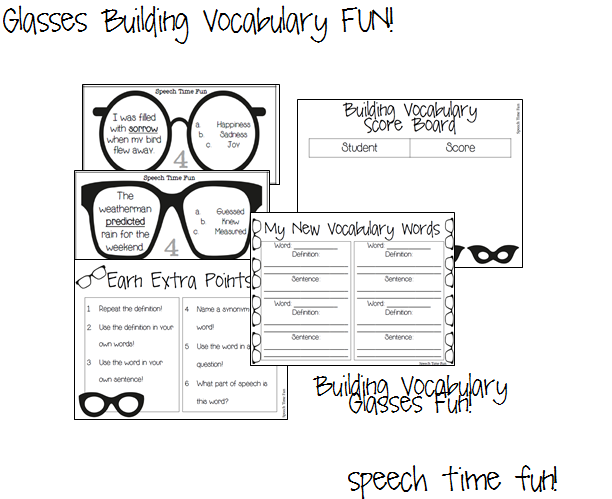 Glasses Building Vocabulary FUN! - Speech Time Fun: Speech and ...