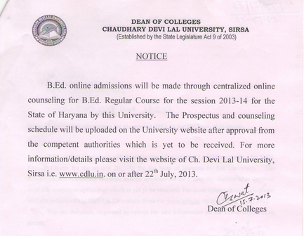 CDLU Notification on B.ed. admission 2013-14