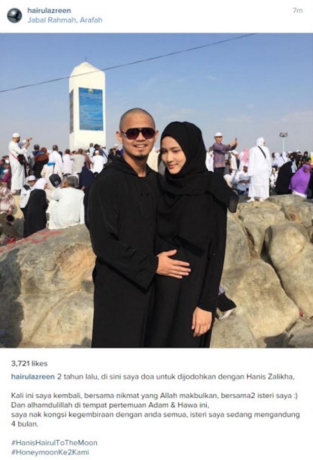 Hanis Zalikha mengandung, Hairul Azreen kongsi kegembiran depan Jabal Rahmah