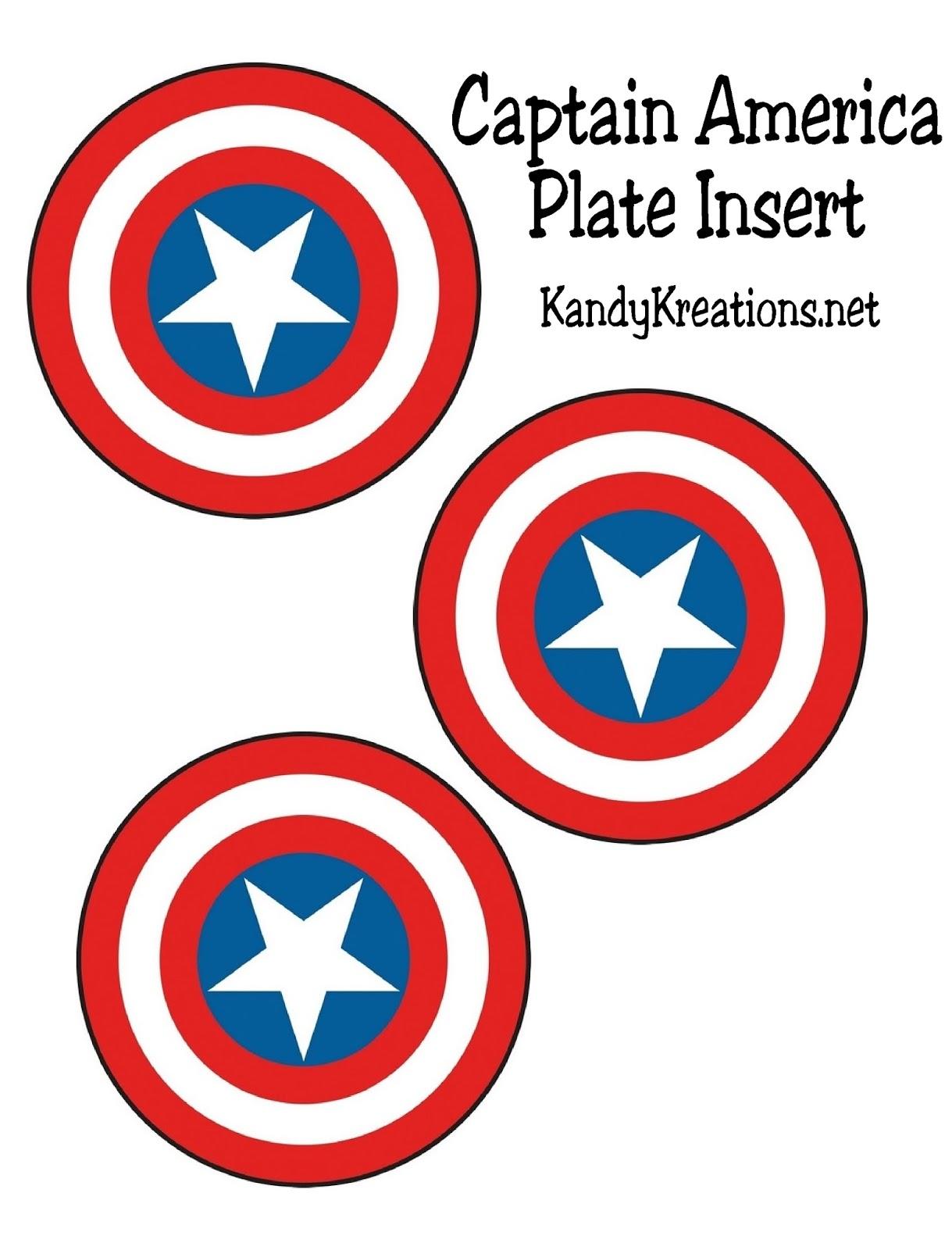 Captain America Shield Patriotic Plate Insert Printable Captain America Shield Captain America Captain America Party