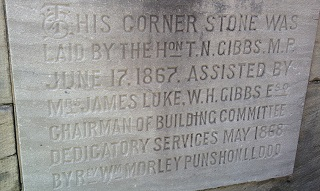 Plaque on the cornerstone of the Simcoe United church. Photo Credit: © Catherine McDiarmid-Watt