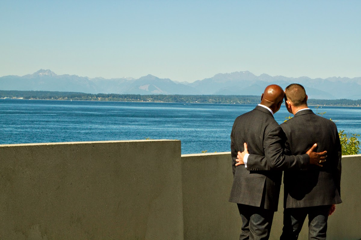 Barry and Robert are wed at the Seattle Sculpture Park - Patricia Stimac, Seattle Wedding Officiant