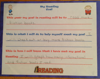 Forms for setting reading goals