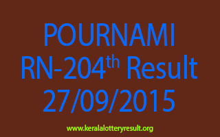 POURNAMI RN 204 Lottery Result 27-9-2015