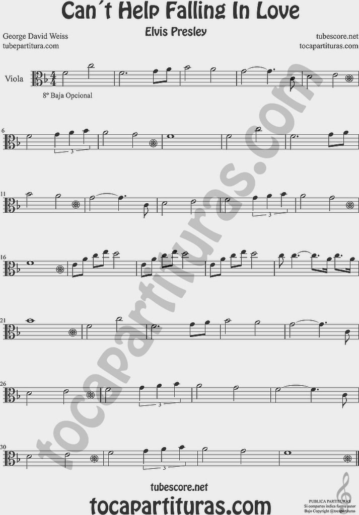 Partitura de Viola Sheet Music for Viola Music Score
