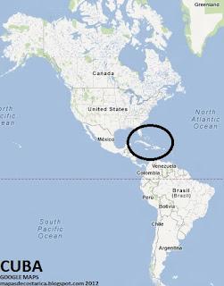 Cuba en America, vista con el google maps 2012