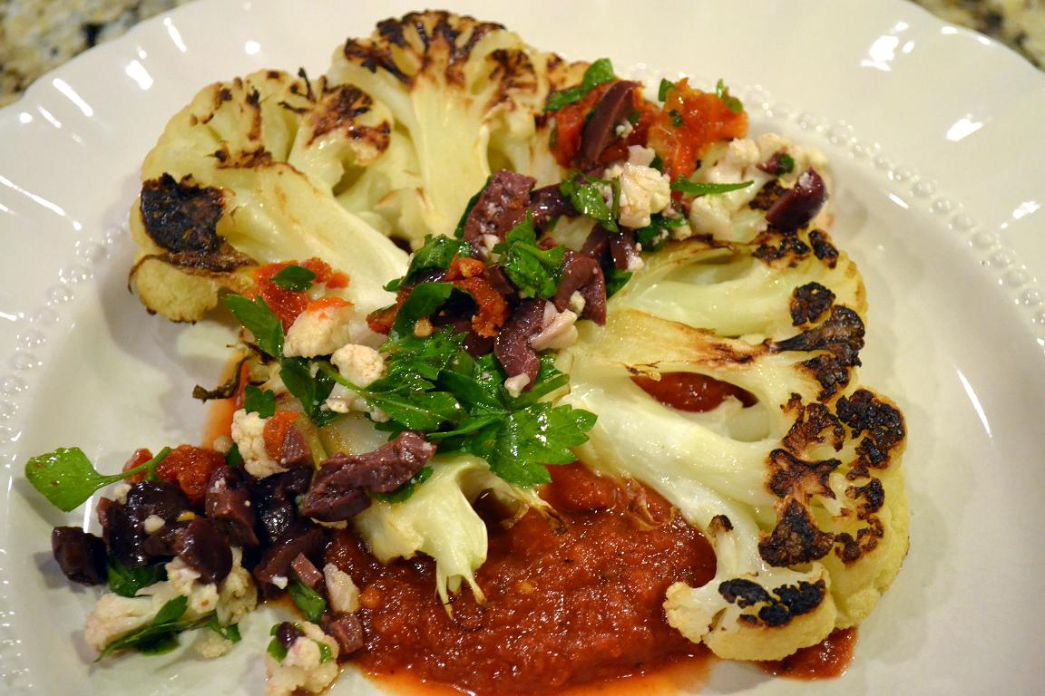 Cauliflower Steaks With Roasted Pepper And Tomato Salad Recipes ...