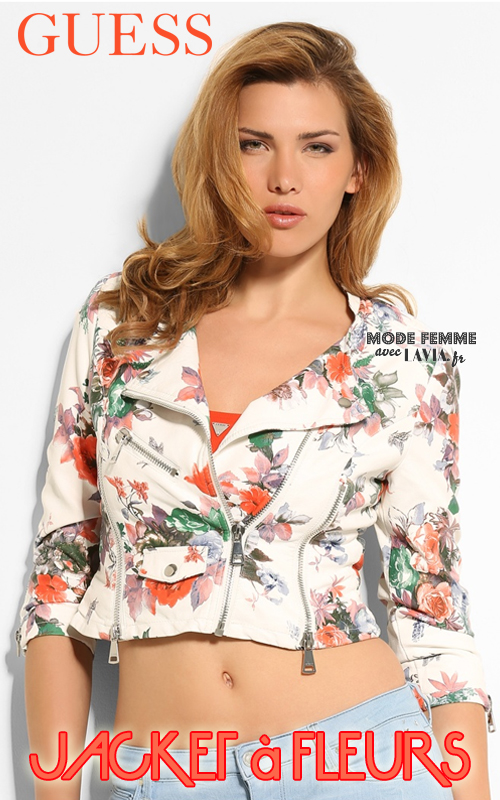 Jacket en simili-cuir à fleurs