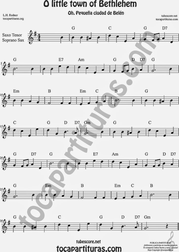 O little town of Bethlehem Partitura de Saxofón Soprano y Saxo Tenor Sheet Music for Soprano Sax and Tenor Saxophone Music Scores