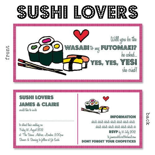 here is my brand new Sushi themed wedding invitation design SUSHI LOVERS