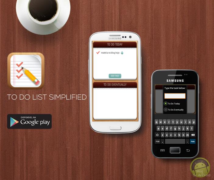 aplicativo to do list simplified traz uma lista de tarefas simples
