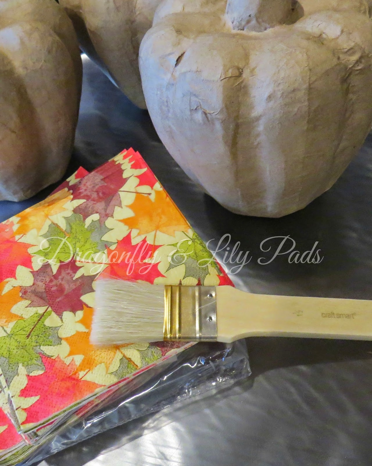 Paper Pumpkins, Paint brush, Fall Leaves Paper Napkins, Fall Decor Fall Decoration