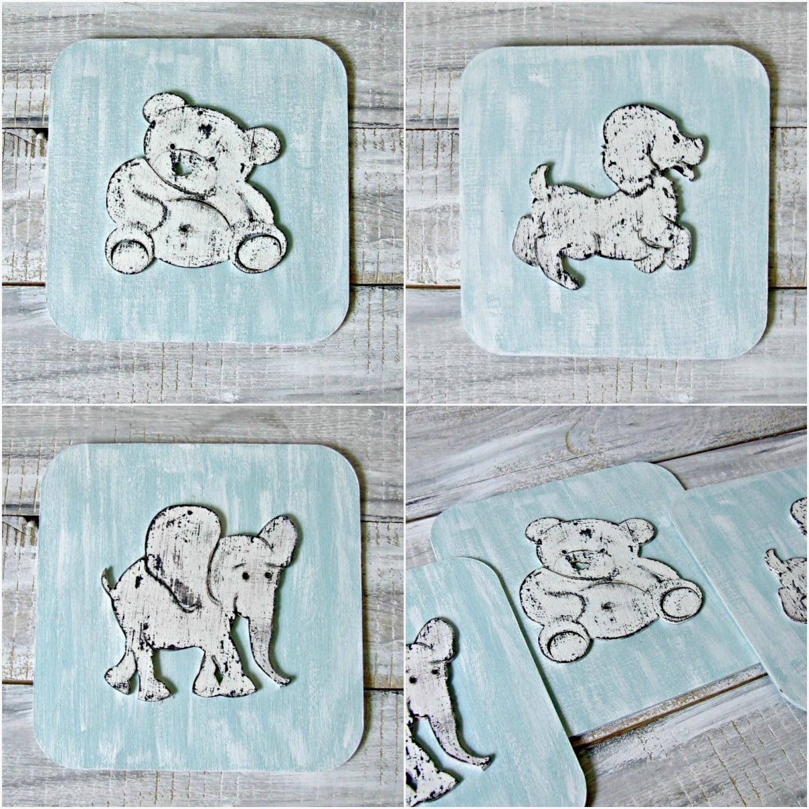 Obrazki ze zwierzakami do dziecięcych pokoi w stylu shabby chic. Kolekcja Blue Baby by Eco Manufaktura