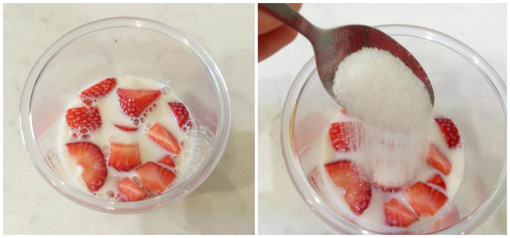 Fresas, leche y azúcar