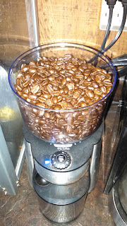 Loading the Grinder with Whole Coffee Beans