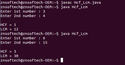 Java code to find HCF & LCM of two numbers using recursion