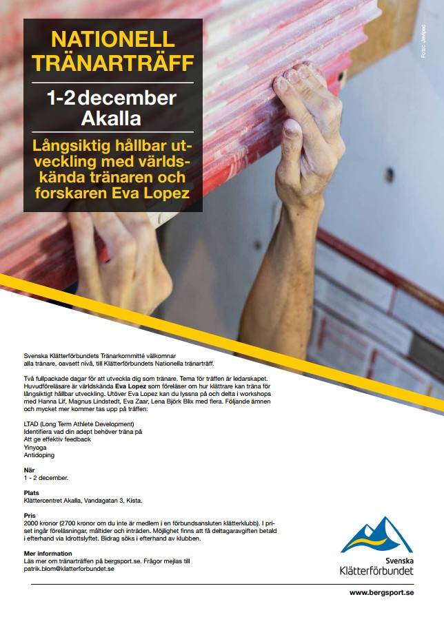 Stockholm, Sweden: Keynote+Discussion on Youth Climbing Training