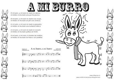 Partiturasmill Ficha para colorear y aprender la canción popular infantil A mi burro A mi burro le duele la cabeza, con letra y partitura.