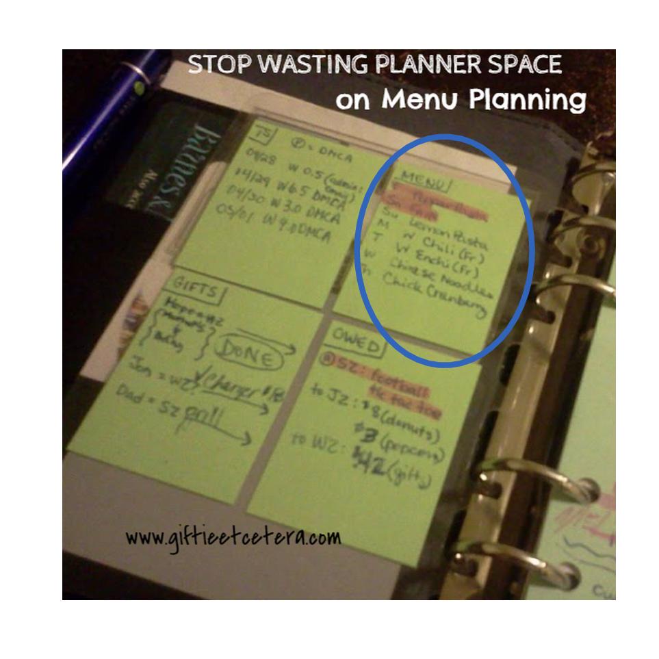 menu, planner