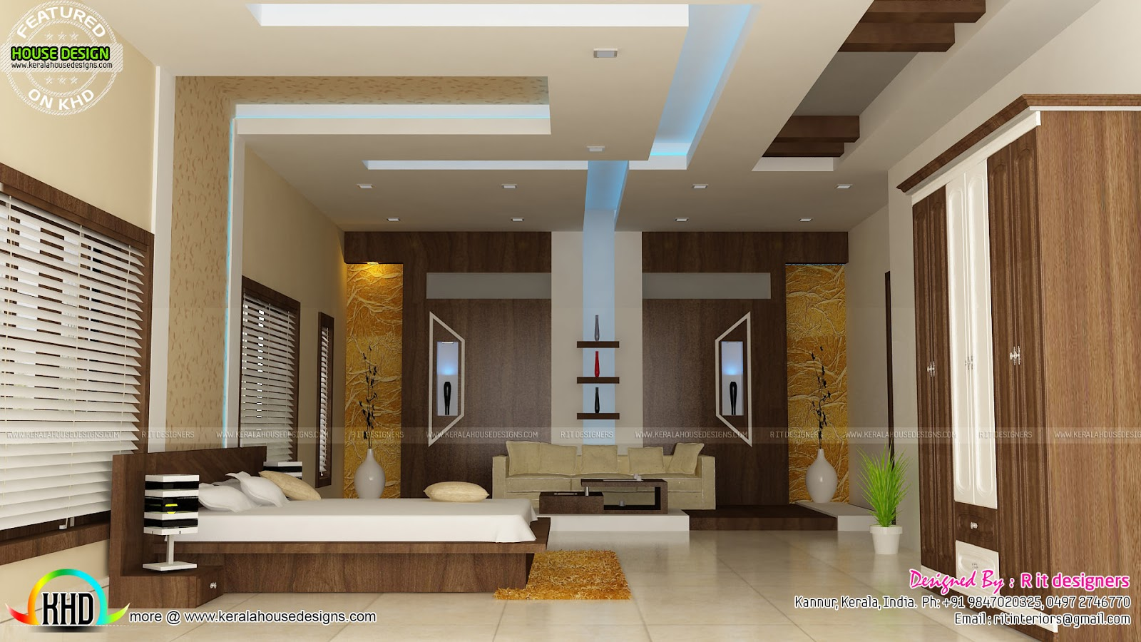 House interiors by r it designers kerala home design and for Kerala model interior designs