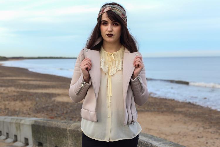 pastel biker jacket, glamorous uk, fashion outfit, vintage girl