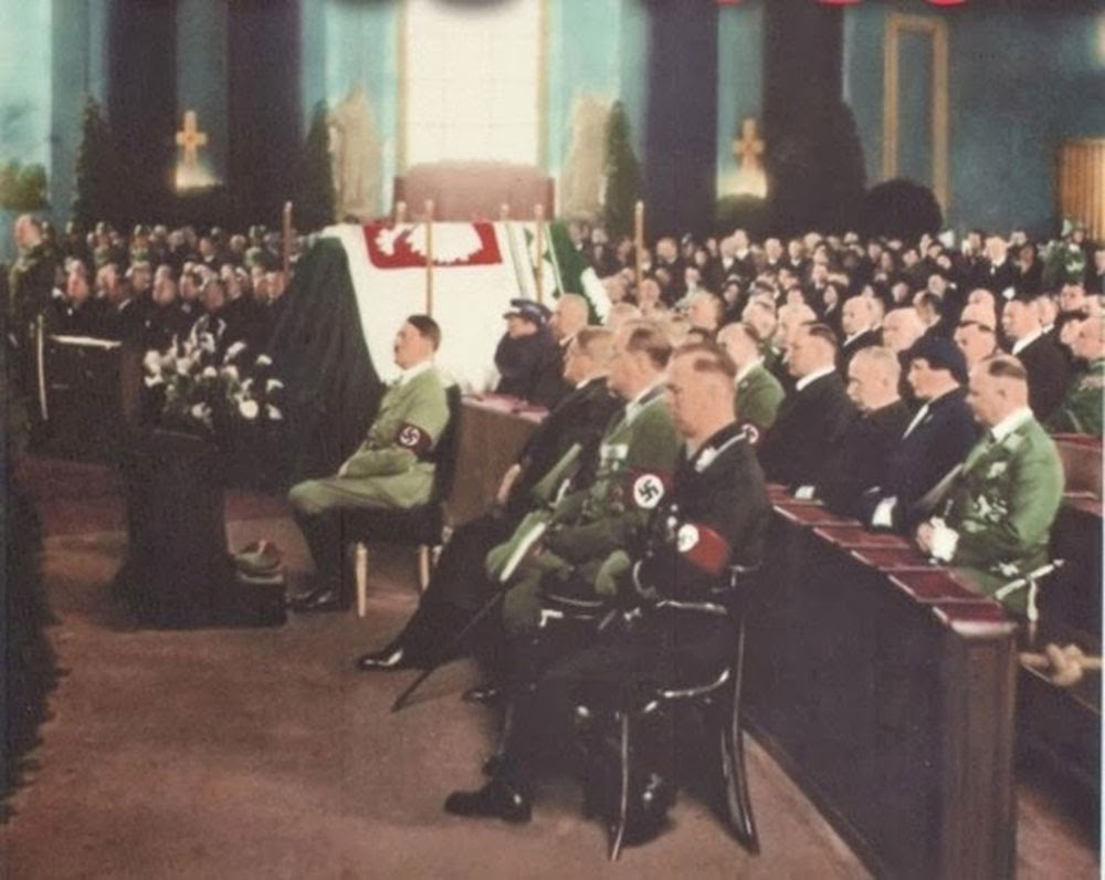 Adolf Hitler attending memorial service of Polish First Marshall Jozef Pilsudski in Berlin, 1935.