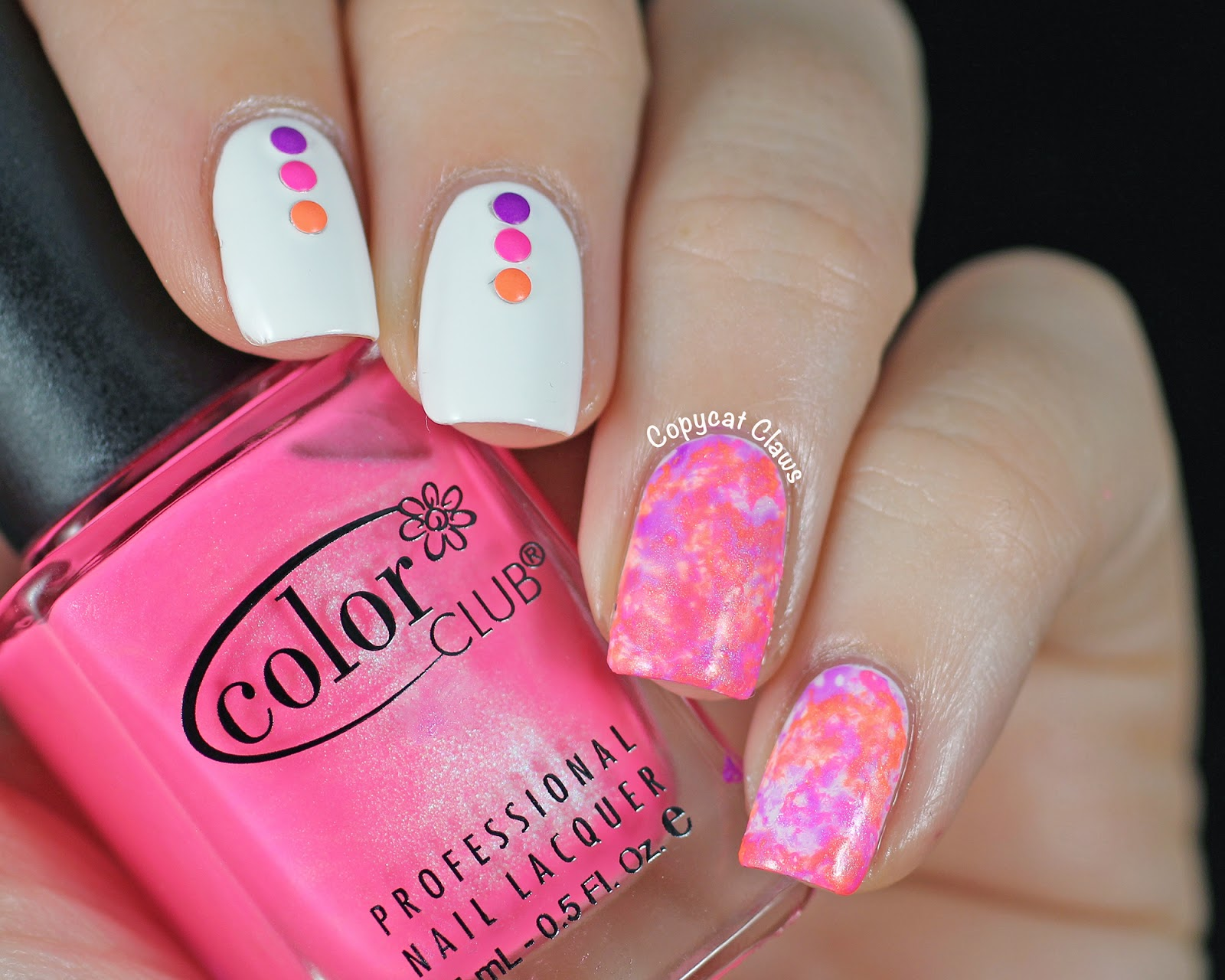 Copycat Claws: Neon Water Spotted Nail Fail