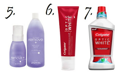 Zoya Remove +, Colgate Optic White Toothpaste, Colgate Optic White Mouthwash