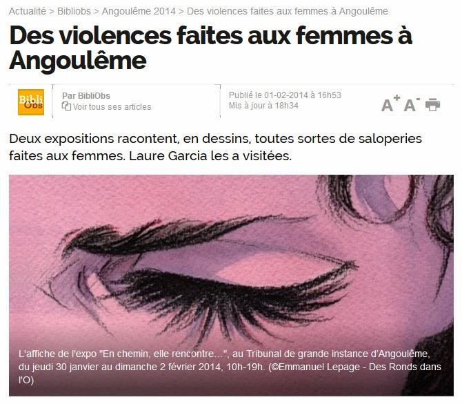 Des violences faites aux femmes à Angoulême : lire l'article (BiblioObs)