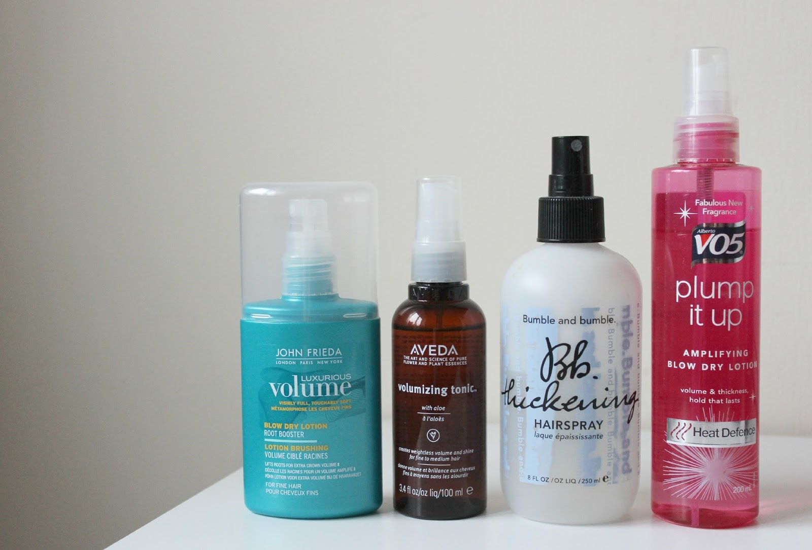 A picture of volumizing products for fine hair