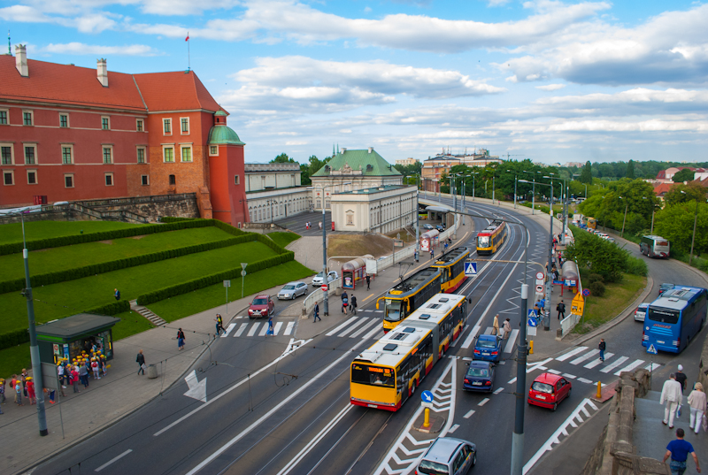 Panoramic view of the streets of warsaw poland