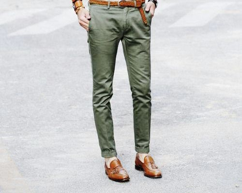 green pants white shirt combination for men - Men's clothing ...