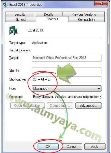 Gambar: Menambahkan Shortcut untuk menjalankan Microsoft Excel