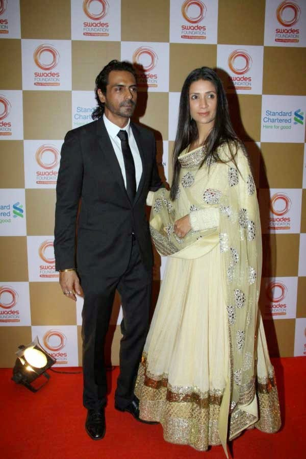 Arjun Rampal and his wife Mehr Jesia at Swades Foundation Fundraiser show