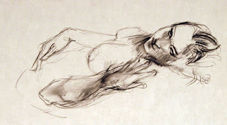Life drawing, charcoal on paper, Shannon Reynolds, 2012