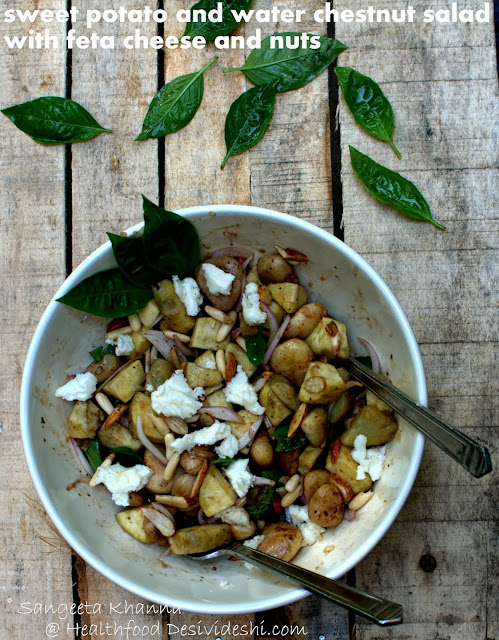 sweet potatoes and water chestnut salad with honey balsamic dressing and feta..