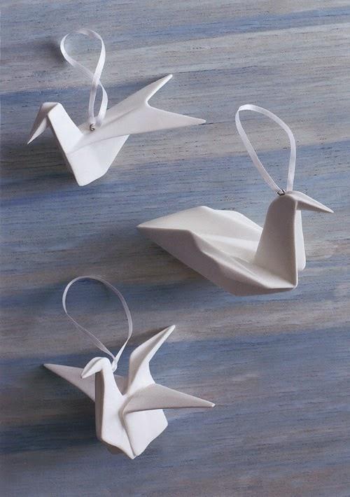 Christmas: White Porcelain Christmas Origami Bird Ornaments   modern ...