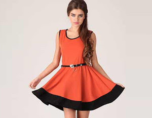 QED London Orange and Black Skater Dress