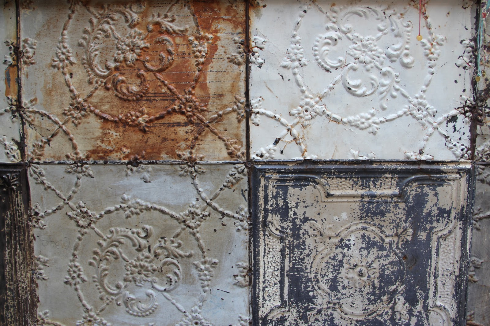 Clothespeggs wabi sabi compositions and interiors - American tin tiles wallpaper ...