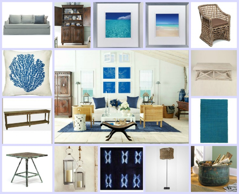 Coastal Living Room, white slipcover sofa, wicker chairs