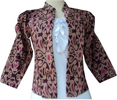 Contoh Blazer Batik Dayak Ungu Murah