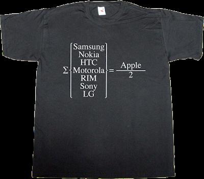 apple samsung nokia htc motorola rim sony lg math t-shirt ephemeral-t-shirts