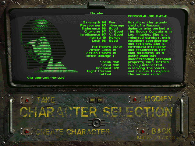 Fallout 1 character creation screen Natalia Dubrovhsky
